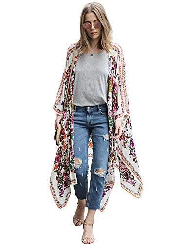 Zexxxy Frauen Long Beach vertuschen Chiffon Floral Boho Summer Cardigan Kimono-Bluse Floral, XXL