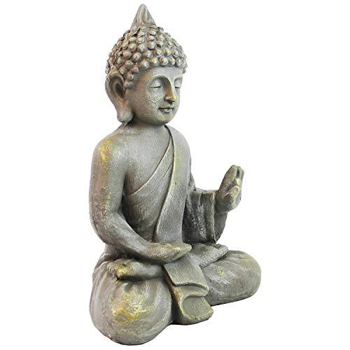 Multistore 2002 Deko Buddha sitzend H53cm Dekofigur Buddhafigur Gartenfigur Skulptur Statue Figur Objekt Gartendekoration Buddhismus