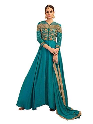 Shoppingover Indian Designer Heavy embroidery Floor Length Anarkali Salwar Kameez-Blue Color