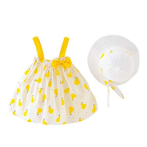 LEXUPE Infant Baby Mädchen Kleidung Set Kurzarm Rundhals Rose Print Strampler Rüschen Plissee Solid Color Rock Outfit Set 2 Stücke für 0-18 Monate (Rosa,100/11)