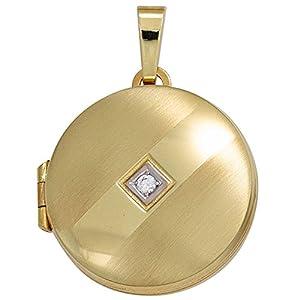 JOBO Medaillon 333 Gold Gelbgold teilrhodiniert teilmattiert 1 Zirkonia