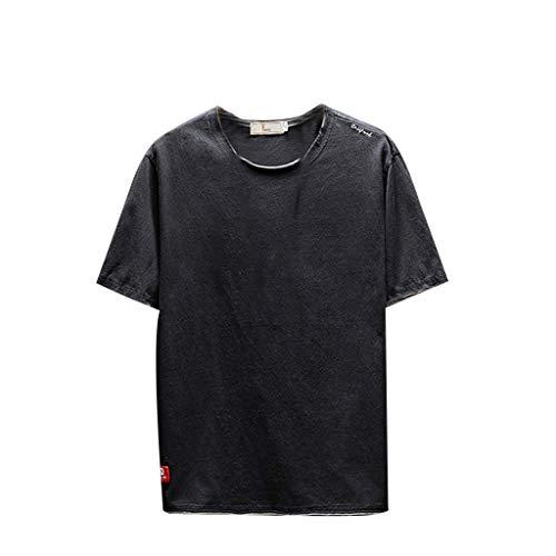 Crazboy Herren Sommer Casual Fashion Volltonfarbe Oansatz Kurzarm T-Shirt Top Bluse(XXX-Large,Schwarz) (7 Jockey-unterwäsche Größe Damen)