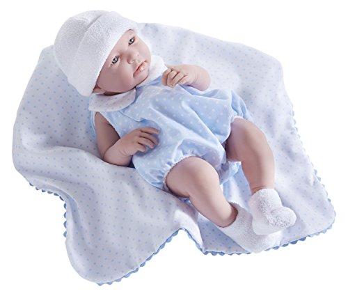 JC Toys, Realistische Mädchen-Baby-Puppe, nach anatomisch korrekten Maßen, 43 cm, Vinyl, Anzug und Decke von Berenguer Boutique entworfen (Puppe Berenguer Junge)