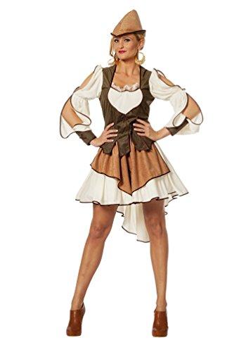 Karneval-Klamotten Robin Hood Kostüm Damen sexy kurz Damen-Kostüm Lady Marian grün-braun-Creme inkl. Hut Größe 44