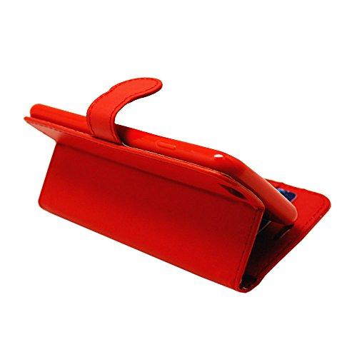 iPhone 7 Plus Hülle , Kamal Star® [ Plain Red Book ] Kunstleder Tasche PU Schutzhülle Tasche Leder Brieftasche Hülle Case Cover Für Apple iPhone 7 Plus 5.5 - 2016 + Gratis Universal Eingabestift (Plai Plain Red Book