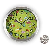 Versa 18560165 Reloj de pared Baño Verde, Ø20cm diámetro, Aluminio, Analógico