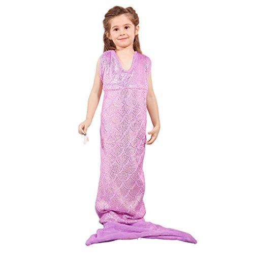 Langria sirena coda coperta soffice di figura completa, con reggiseno a triangolo per tutte le stagioni, dormire come sirenetta brillante, coperta per divano letto, violetto, 54 x 145 cm