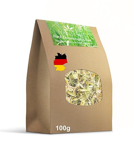 Hanftee CBD mit Zitronengras 100g. - Deutschland Ernte 2017 - Handverlesen und Vegan - Hanfblättertee + Zitronengrastee - Lemongrastee - CBD Tee
