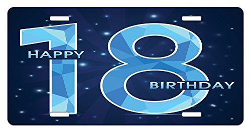 Yinorz 18th Birthday License Plate by, 18 Years Birthday with Galaxy Star Themed Dots Image Art Print, High Gloss Aluminum Novelty Plate, 5.88 L X 11.88 W Inches, Dark Blue and Sky Blue