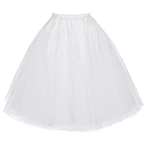 50s Petticoat Retro Vintage Reifrock Swing Rock Petticoat weiß mädchen für Festlich Kleid Größe S BP56-2