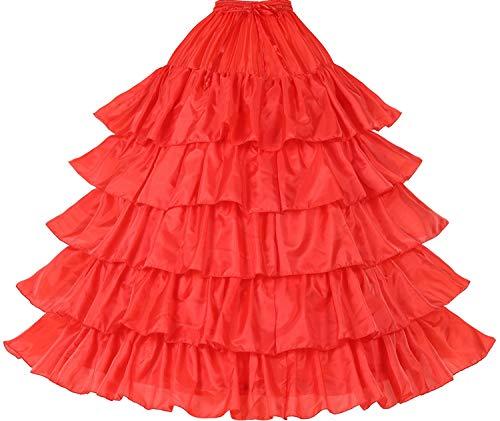Petticoat Unterröcke Reifrock Rockabilly Rüschen A Linie Lang Vintage für Hochzeit Brautkleid Schwarz Weiß Rot 5 Schichten 4 - Red Right Hand Kostüm