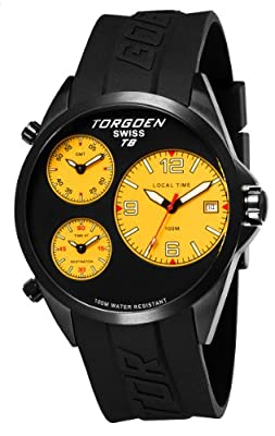 TORGOEN Swiss T08305 Men's 45.5mm Aviation Watch with Triple Time Zone and Black PU Strap