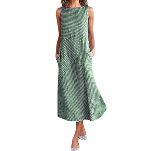Obestseller Damen-Kleider Damen Sommer Schulterfrei Businesskleider für Damen Lässiges, ärmelloses Kleid aus Baumwolle und Leinen mit Rundhalsausschnitt für Damen (Grün, XL)