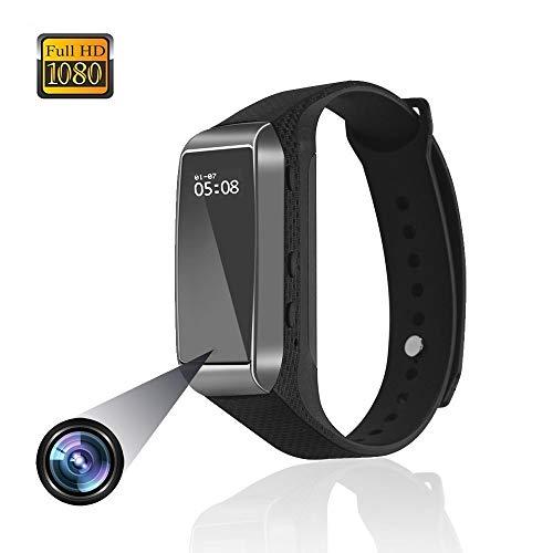 MENRAN Smart Armband Versteckte Kameras 1080P Sportuhr Mini-Videokamera mit Track Steps, Schlafqualität Überwachung, Überwachung Recorder Camcorder Geeignet für iPhone und Android-Handys (Wireless Kamera-brille Versteckte)
