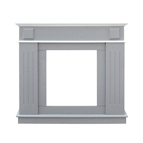 Mobili rebecca® camino finto decorativo caminetto da decorazione stile moderno grigio chiaro bianco mdf sala camera da letto (cod. re6053)