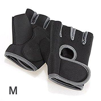 TOOGOO(R) neue Sportart Radfahren Fitness Gym halbe Finger-Handschuhe Gewichtheben uebung Training - Schwarz mit grauen Rand M
