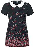Pussy Deluxe Haut Falling Cherries À Col Chemise T-Shirt Manches Courtes Noir