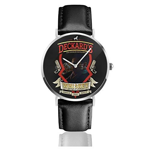 Unisex Business Casual Rick Deckards Single Malt Whiskey Blade Runner Uhren Quarz Leder Armbanduhr mit schwarzem Lederband für Männer und Frauen Young Collection Geschenk
