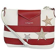 a629e98a862 Lancaster - Petit sac bandoulière femme rayures blanc et rouge Maya étoile  (517-30
