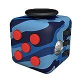 Tepoinn Stresswürfel Zappeln Cube Würfel vergleichbar wie Fidget Cube mit 6 unterschiedliche Funktionen entlastet Stress und Angst Spielzeug Geschenke für Kinder und Erwachsene mit  Blaue Tarnung