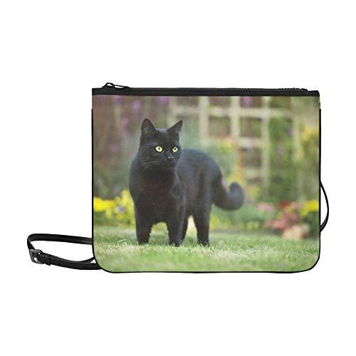 SHAOKAO Die schwarze Katze mit gelben Augen Muster Benutzerdefinierte hochwertige Nylon Slim Clutch Crossbody Bag Umhängetasche -