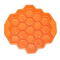 19 Cavity Food Grade Silicone 24.3x23.5x4cm Orange Bee Honeycomb Cake Chocolate Cookie Soap Candle Mold Mould for Microwave Oven