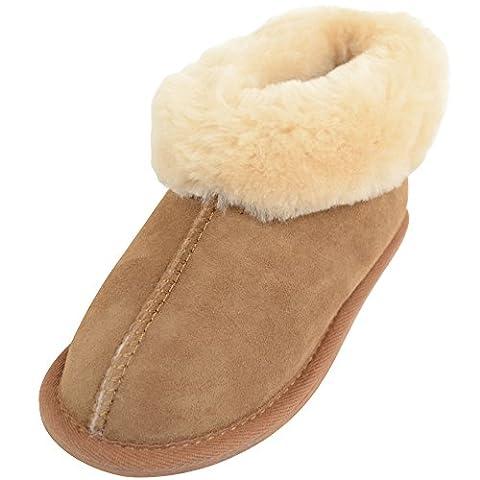 Snugrugs Childrens / Kids / Girls Warm 100% Full Sheepskin Slippers / Booties - Chestnut - Child 12
