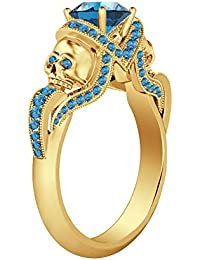 Silvernshine 1.52Ct Aquamarine CZ Ddiamond 14K Yellow Gold PL Weddding & Engagement Two Skull Ring