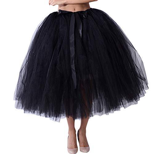 OverDose Damen Carnival Slim Style Frauen Mesh Tüll Tutu Rock Brautjungfer Prinzessin Rock Bubble Mutterschaft Rock Dirndl Masquerade Elegantes Samba-Kleid