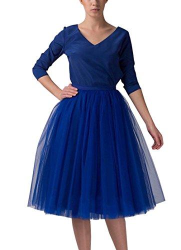 Izanoy Damen 5 Layer Tutu Prinzessin Petticoat Rock Elastic Bund Ballettrock Unterrock Pettiskirt Königsblau