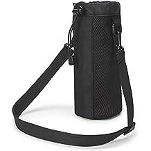 VORCOOL Portador de la botella de agua con aislamiento bolsa de la botella de agua bolsa de la bolsa cubierta de la bolsa cintura ajustable con bolsa de hombro táctica ideal para ir de excursión al camping de viaje (negro)