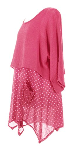 Mesdames Womens Lagenlook italienne excentrique superposition Polka Dot robe plaine haussement d'épaules Twin Set robe taille UK 10-14 Corail