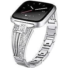 3418dba508ad DBoer Compatible Fitbit Versa Correas de Reloj de Plata para Mujeres Niñas  Bling Diamantes de