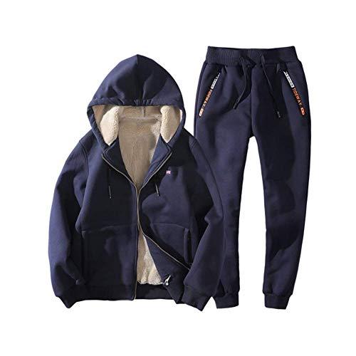 FuweiEncore Tuta Invernale da Uomo Cappotto più Spesso Felpe Giacca e Pantaloni Uomo Casual Felpa con Cappuccio Caldo Outwear Maschile