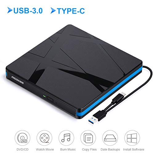 External DVD Drive, MosKee USB 3.0 Type-C Portable Optical Drive CD/VCD Rewriter Burner Writer Plug and Play for Laptop/Macbook/iMac/Destop/Windows/Linux/Mac OS