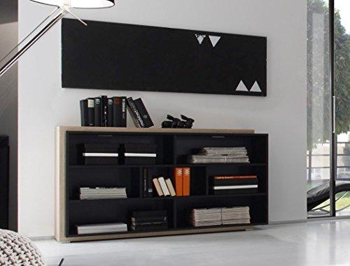 Regal Scott 139x79x38 cm schwarz Design Eiche-Nb Regalschrank Sideboard Schrankregal