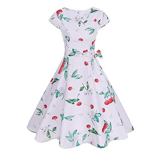 (OverDose Damen Karneval formalen Stil Frauen Vintage Kurzarm o Neck abenddruck Partei Prom schlank charmant schaukel Dress Dirndl)