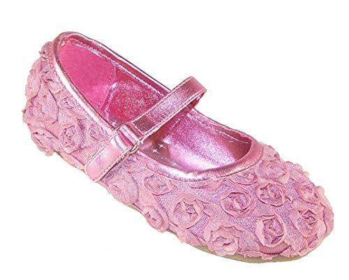 Mädchen Rosa Satin und Blume Ballerina Gelegenheit Schuhe, Rose - 5 UK/22 EU - Flower Girl Satin Schuhe
