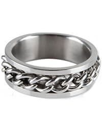 Gleader Hombres de acero inoxidable cadena del encintado band anillo tamano del reino unido : t 1 /2 - plateado