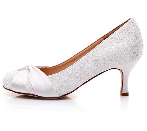 1643e9094 YOOZIRI Wedding Shoes,Bridal Shoes,Women Shoes, White Lace Shoes Low ...