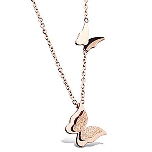 Collana in oro rosa con due ciondoli a forma di farfalla, gioiello di Cara Z (oro rosa)