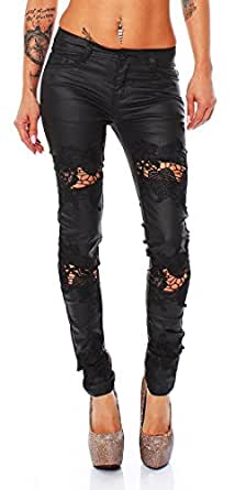 10656 Fashion4Young Damen Jeans Hose Spitze Röhrenjeans Wetlook Röhre Damenjeans Leder look (S=36, Schwarz)