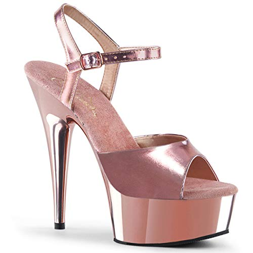 Pleaser DELIGHT-609 Damen Plateau High Heels, PU Rose Gold, EU 38 (US 8) Ankle Strap Platform Sandal