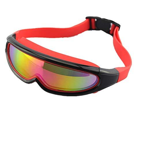 LPcool Taucherbrille,Outdoor Unisex Große Rahmen Bunte Überzogene Schutzbrillen Wasserdichte Anti-Fog-Silikon Schwimmen, Rot