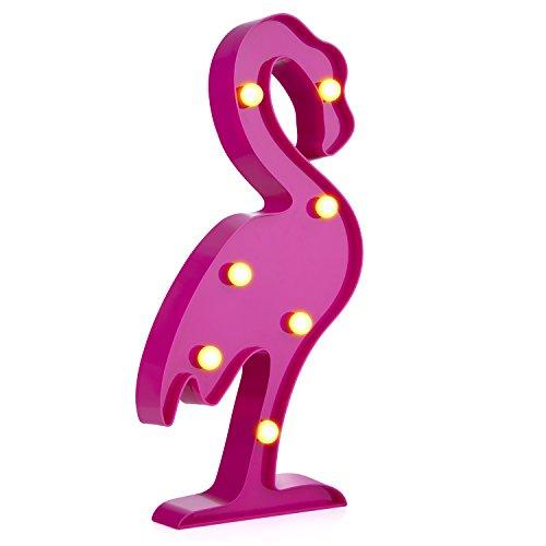 Preisvergleich Produktbild LED Nacht Licht Nacht Tisch Lampe – ZWOOS Warmweiße LED Deko Batterien Betrieben (Nicht im Lieferumfang Enthalten) Dekolampe für Wohnzimmer und Küche (Flamingo)