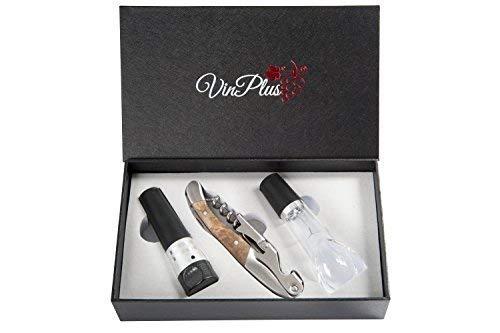 Set apri vino di vinplus, set regalo di altissima qualità in legno di palissandro premium con beccuccio aeratore e tappo a vuoto per bottiglia in confezione di lusso perfetta per natale. accessorio da