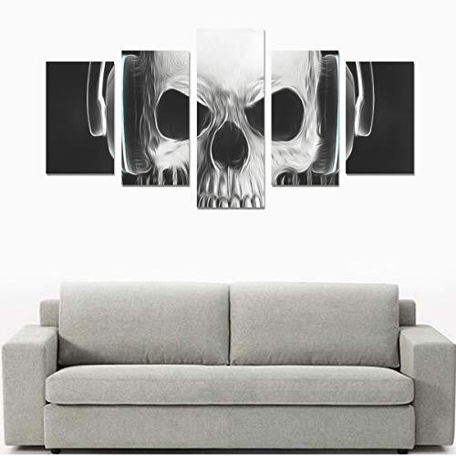 Leinwanddruck-Sets Wandkunst Bild 5 Stücke Gemälde Poster Drucke Foto Bild Auf Leinwand Fertig Zum Aufhängen Für Wohnzimmer Schlafzimmer Home Office Wanddekor (kein Rahmen) Skelett Tragen Kopfhörer