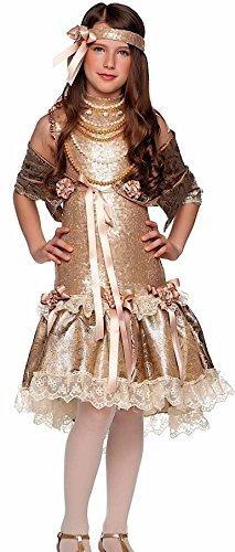Fancy Me Italian Made Deluxe Mädchen Gold Pailletten 1920s Jahre Flapper Tanz Charleston Kostüm Kleid Outfit 4-10 Jahre - Gold, 4 Years (Deluxe Pailletten Flapper Kostüm)