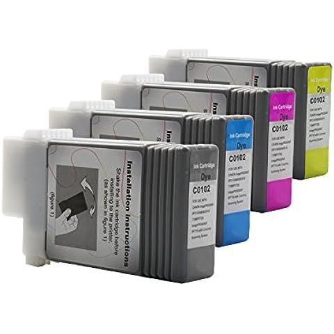 Compatible con Canon Imageprograf IPF 605 tintas conjunto negro, cian, Magenta, amarillo - PGI-102 / 0894B001 & 0896B001 - 0898B001 - Inhalt: 4 x 130