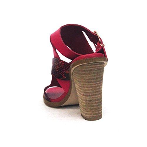 Punta BCBGeneration aperto blocco tallone sandali, in pelle, taglia 3,5, da £110 Argento (Wild Rose)